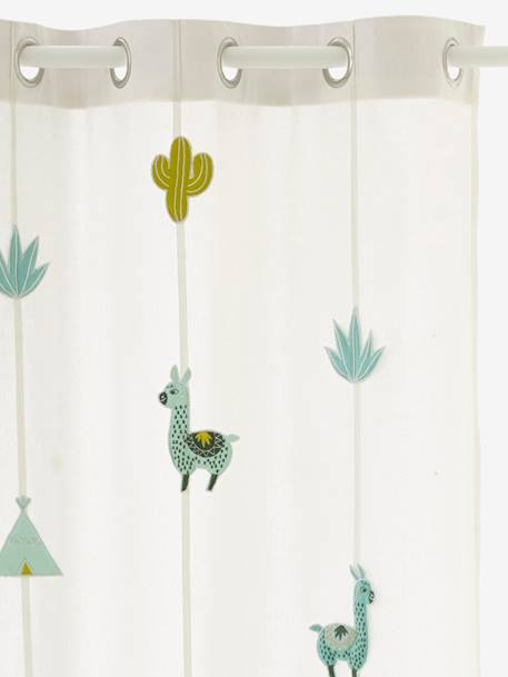 Sheer Curtain, Cactus WHITE LIGHT SOLID WITH DESIGN - vertbaudet enfant