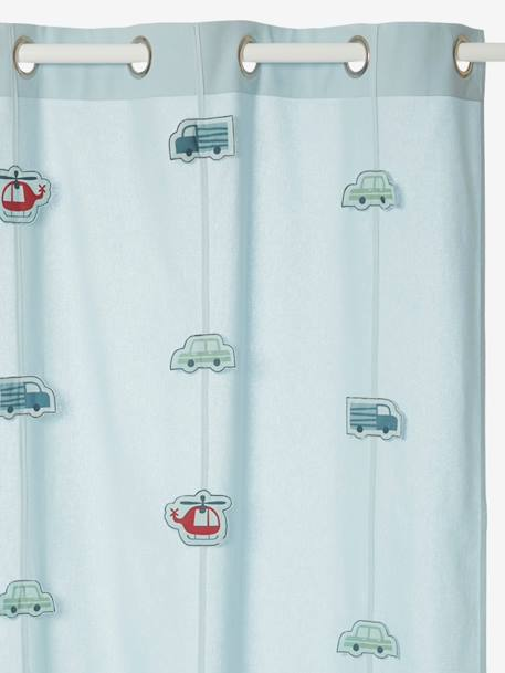 Sheer Curtain BLUE LIGHT SOLID WITH DESIGN - vertbaudet enfant