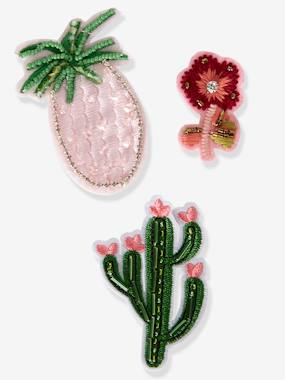 Vertbaudet Collection-Girls-Girls' Pack of 3 Exotic Pin-On Patches