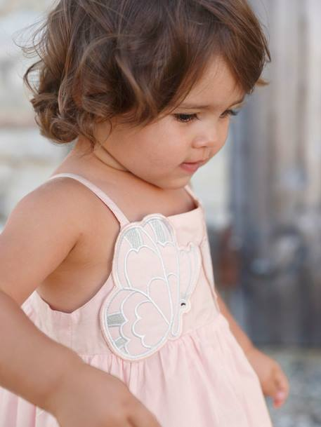 Baby Girls' Dress with Spaghetti Straps PINK LIGHT SOLID WITH DESIGN - vertbaudet enfant