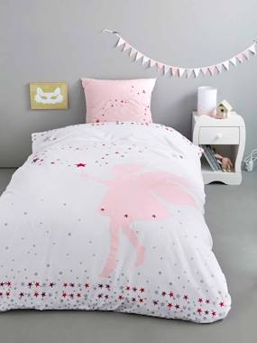 white-Duvet Cover & Pillowcase Set, Tiny Fairy Theme
