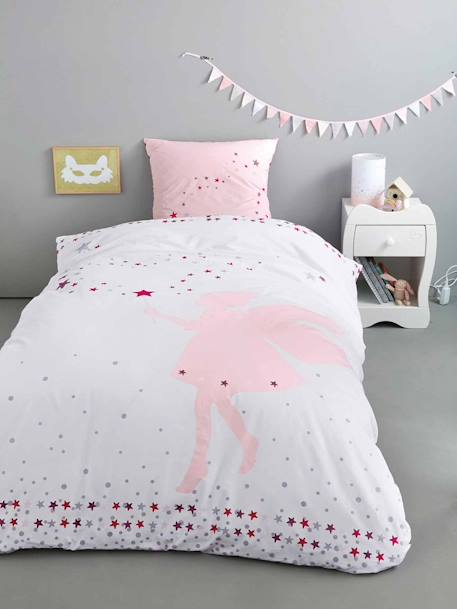 Duvet Cover & Pillowcase Set, Tiny Fairy Theme Printed white - vertbaudet enfant