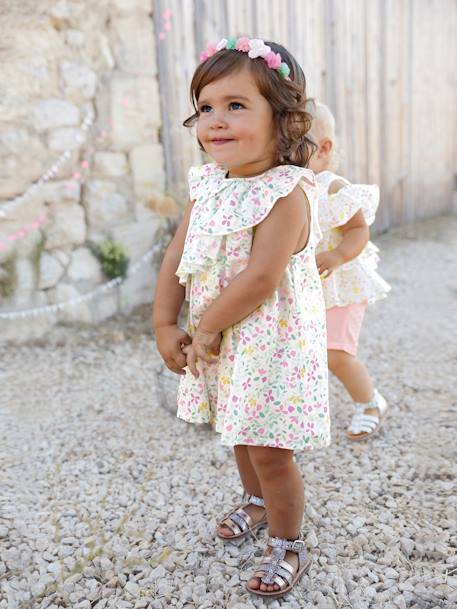0467ca6bdc56 Baby Girls  Printed Sateen Dress - blue light all over printed