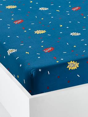 Vertbaudet Collection-Bedding-Children's Fitted Sheet, Super cat Theme