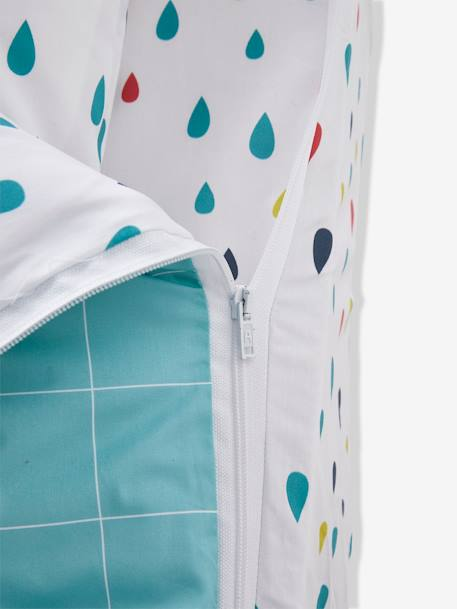 An easy to close ready-for-bed set with PIN PON duvet: 4-Piece Set GREEN LIGHT ALL OVER PRINTED - vertbaudet enfant