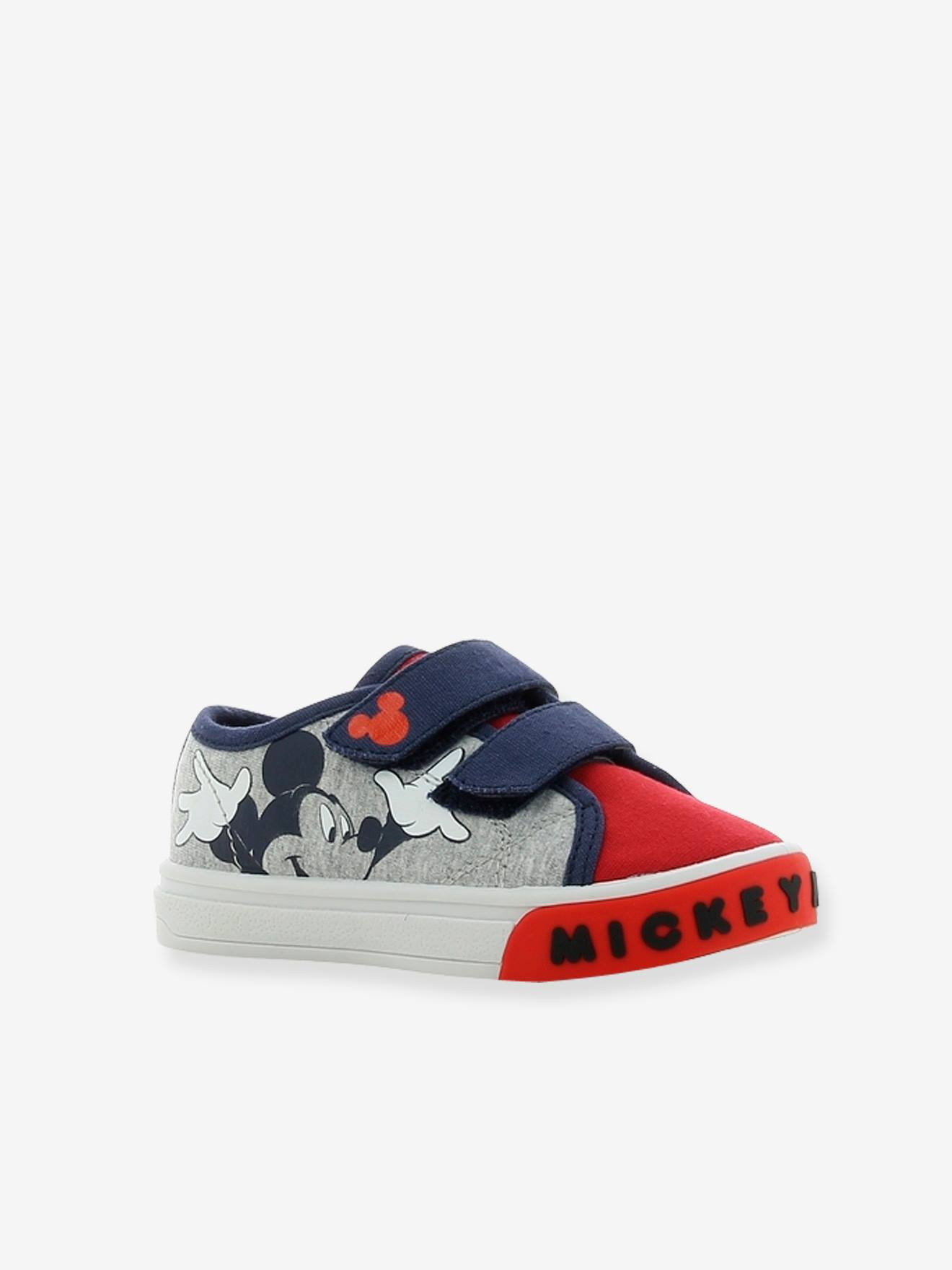 Boys Mickey Disney Trainers Grey Light Solid With Design Shoes