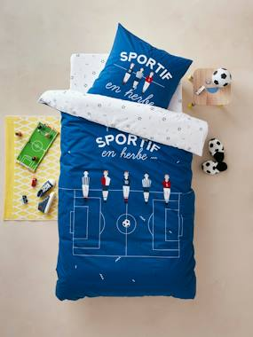 household linen-Children's Duvet Cover + Pillowcase Set, Football Champion Theme