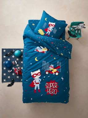 Mid season sale-Bedding-Children's Duvet Cover + Pillowcase Set, Super Cat Theme