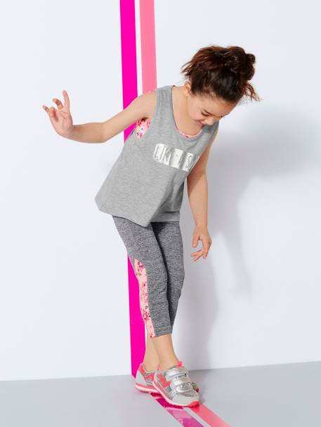 Girls' Sports Leggings GREY LIGHT MIXED COLOR - vertbaudet enfant