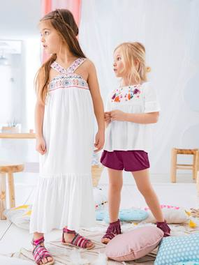 Outlet-Girls-Dresses-Girls' Long Dress, in Crepon