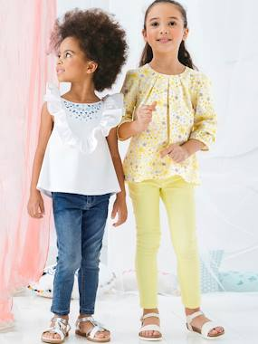 Vertbaudet Collection-Girls' Embroidered Blouse, with Frills
