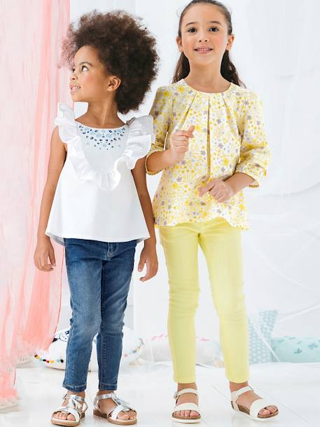 Girls' Printed Blouse PINK LIGHT ALL OVER PRINTED+YELLOW MEDIUM ALL OVER PRINTED - vertbaudet enfant