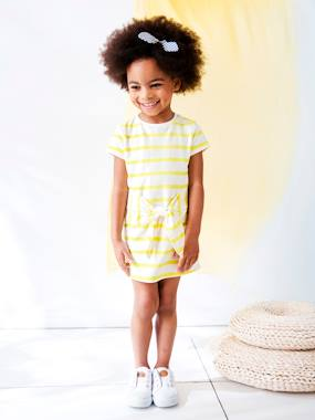 Outlet-Girls-Dresses-Dress in Striped Fleece