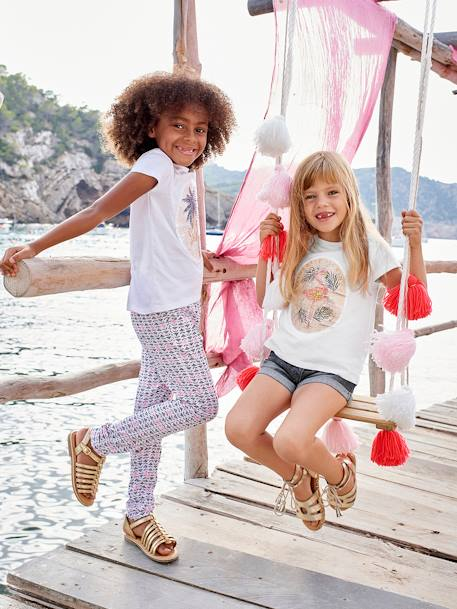 Girls' Printed, Loose-Fitting Trousers BLUE MEDIUM ALL OVER PRINTED+GREEN LIGHT ALL OVER PRINTED+PINK BRIGHT ALL OVER PRINTED+WHITE LIGHT ALL OVER PRINTED - vertbaudet enfant