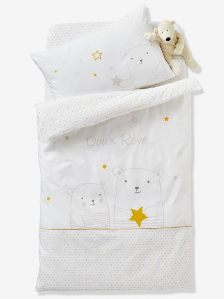 Fitted Sheet for Babies, Dreamin' of Stars Theme WHITE LIGHT ALL OVER PRINTED - vertbaudet enfant