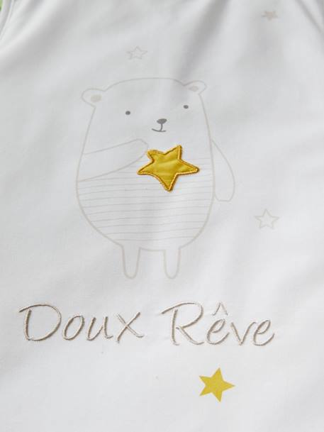 Sleeveless Baby Sleep Bag, Dreamin' Teddy Theme WHITE LIGHT SOLID WITH DESIGN - vertbaudet enfant