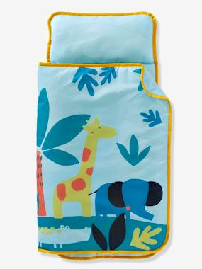 white-Sleeping Bag with Integrated Pillow, Jungle Theme