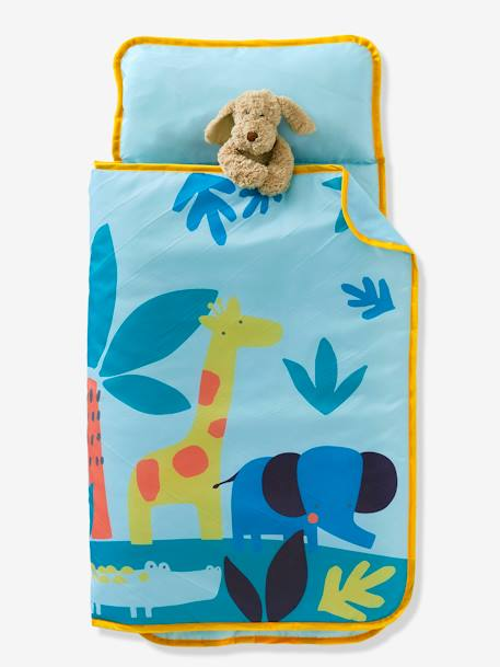 Sleeping Bag with Integrated Pillow, Jungle Theme GREEN LIGHT SOLID WITH DESIGN - vertbaudet enfant