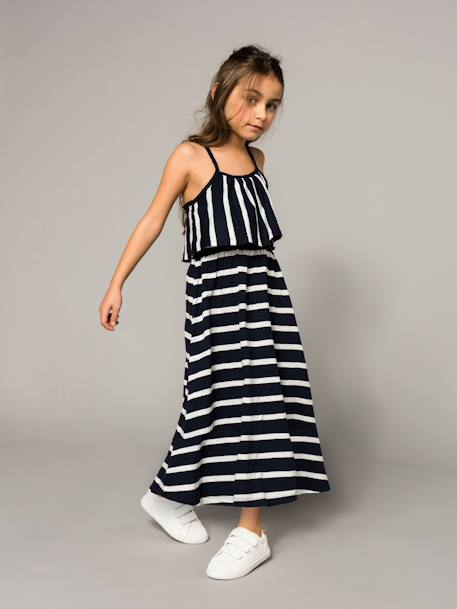 Girls' Long Dress BLUE DARK STRIPED+GREEN LIGHT ALL OVER PRINTED - vertbaudet enfant