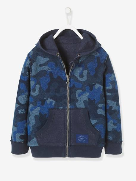 Boys' Reversible Zip-Up Sweatshirt BLUE DARK SOLID WITH DESIGN+GREEN DARK ALL OVER PRINTED - vertbaudet enfant