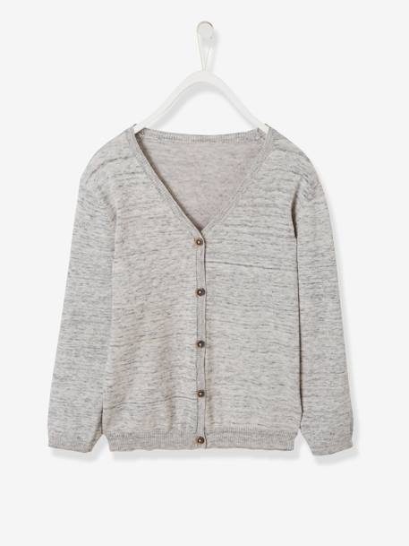 Boys' V-Neck Cardigan BLUE DARK SOLID+GREY LIGHT MIXED COLOR - vertbaudet enfant