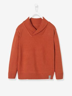 Vertbaudet Sale-Boys-Cardigans, Jumpers & Sweatshirts-Jumper with Shawl Collar for Boys