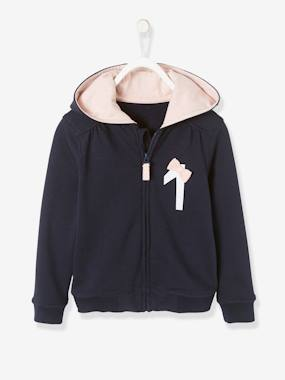 Girls-Cardigans, Jumpers & Sweatshirts-Hooded Cardigan with Zip for Girls