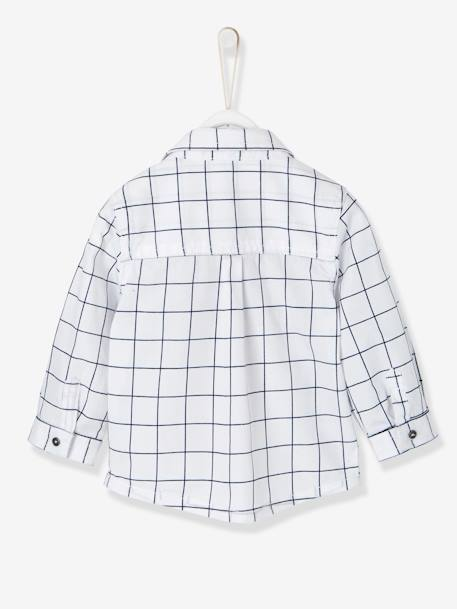 Shirt for Baby Boys, with Printed Motif WHITE LIGHT CHECKS - vertbaudet enfant