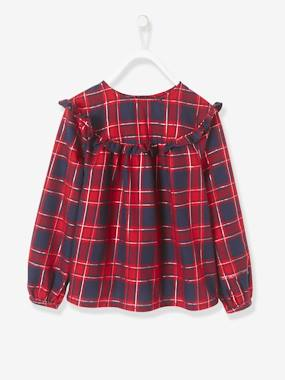 Vertbaudet Collection-Girls-Chequered Blouse for Girls