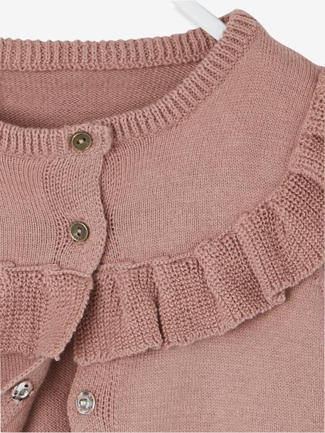Knitted Cardigan with Frill for Newborn Babies PINK DARK SOLID - vertbaudet enfant