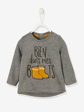 Vertbaudet Sale-Baby-T-shirts & Roll Neck T-Shirts-Top with Motif 'bien dans mes boots', for Baby Boys