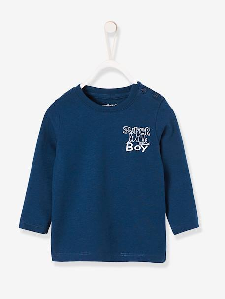 Baby Boys' T-Shirt with Graphic Print Grey marl+Navy+White - vertbaudet enfant