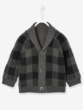 Baby-Cardigans & Sweaters-Cardigan with Large Collar, Lined, for Baby Boys