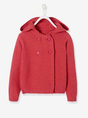 Vertbaudet Sale-Girls-Cardigans, Jumpers & Sweatshirts-Knitted Cardigan, with Hood, for Girls
