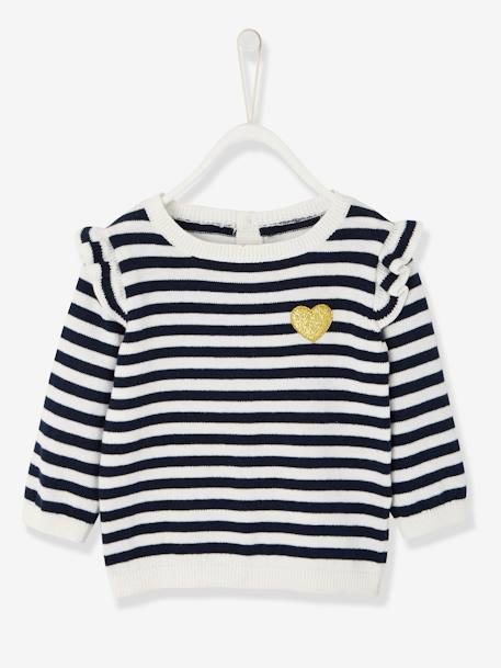 Jumper with Frill for Baby Girls BLUE DARK STRIPED+PINK DARK SOLID WITH DESIGN+PINK MEDIUM SOLID WITH DESIG+YELLOW DARK SOLID WITH DESIGN - vertbaudet enfant