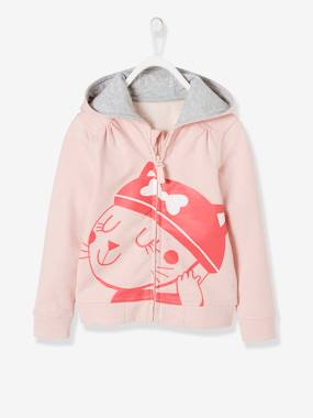 T-shirts-Hooded Cardigan with Zip for Girls