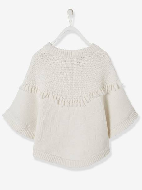 Poncho with Fringes, for Girls WHITE LIGHT SOLID - vertbaudet enfant