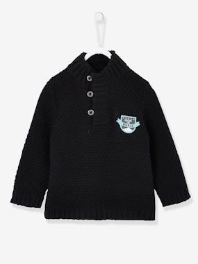 Vertbaudet Sale-Knitted Jumper for Baby Boys with Fox Patch