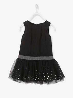Vertbaudet Sale-Girls' Sleeveless Tulle & Sequins Dress