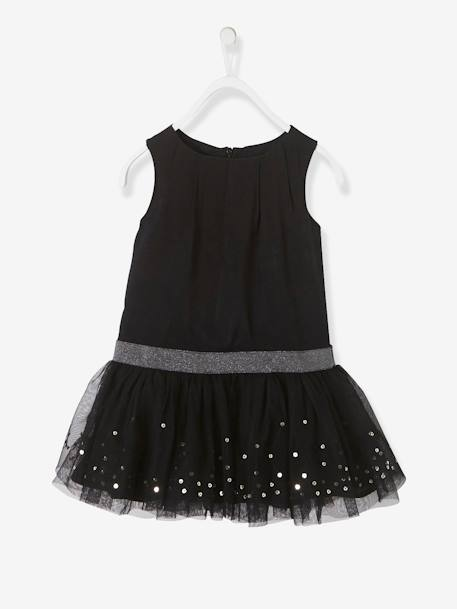 Girls' Sleeveless Tulle & Sequins Dress BLACK DARK SOLID WITH DESIGN - vertbaudet enfant