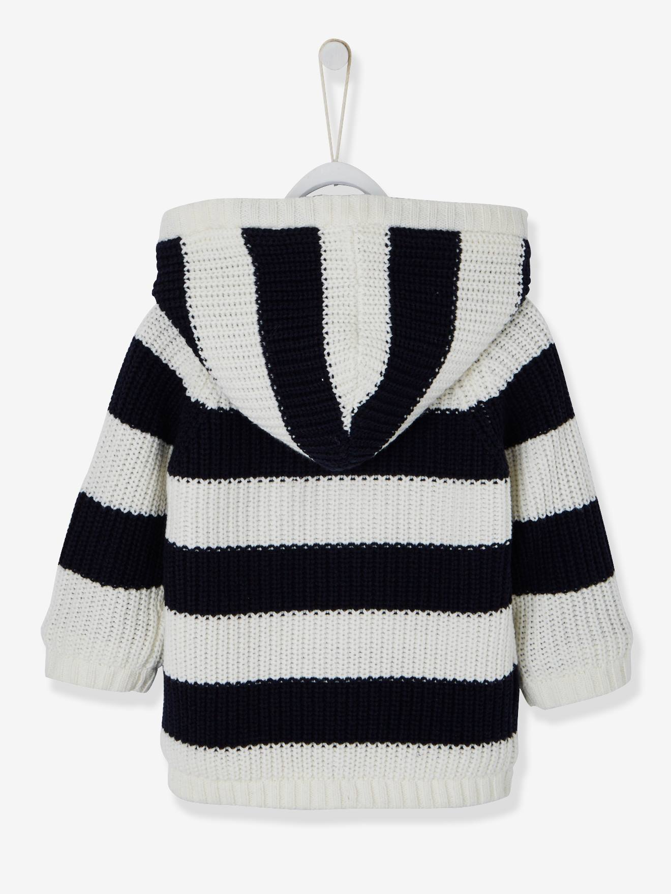 cc6b92fae24f Striped Knitted Cardigan with Lined Hood for Baby Boys - blue dark ...