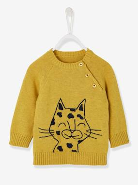 Baby-Jumpers, Cardigans & Sweaters-Jumper with Fabric Motif for Baby Boys