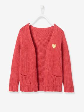 Vertbaudet Sale-Girls-Cardigans, Jumpers & Sweatshirts-Long, Thick Knit Cardigan for Girls