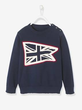 Vertbaudet Sale-Boys-Cardigans, Jumpers & Sweatshirts-Jumper with Flag Print for Boys