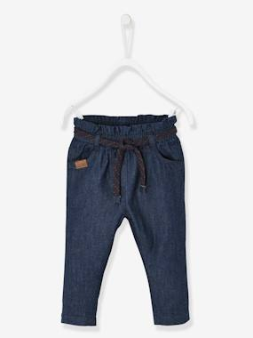Baby-Trousers & Jeans-Jeans for Babies with Gathered Waistband + Belt
