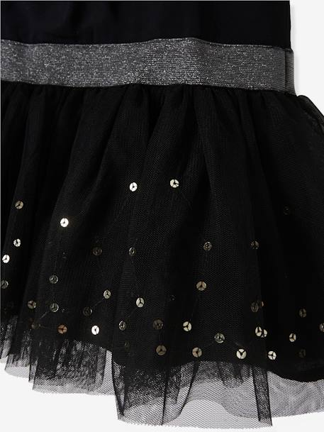 Girls' Sleeveless Tulle & Sequins Dress BLACK DARK SOLID WITH DESIGN+Iridescent beige - vertbaudet enfant