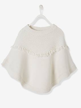 Girls-Cardigans, Jumpers & Sweatshirts-Poncho with Fringes, for Girls