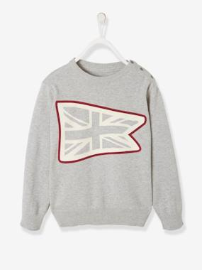 Vertbaudet Sale-Boys-Jumper with Flag Print for Boys
