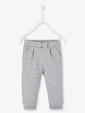 Baby-Trousers & Jeans-Fleece Joggers for Baby Girls with Embroidery on the Back
