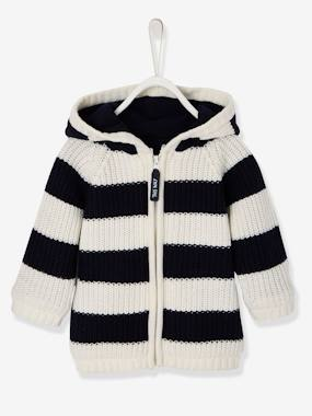 Schoolwear-Baby-Striped Knitted Cardigan with Lined Hood for Baby Boys